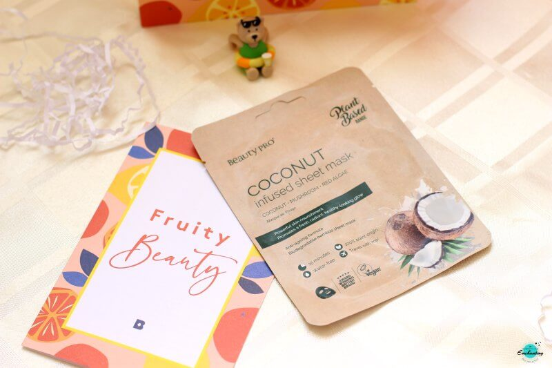 Beauty pro coconut sheet mask in Birchbox July 2020 fruity beauty box, Birchbox review