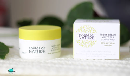 My daily night time skincare routine - source of nature white tea and avocado night cream