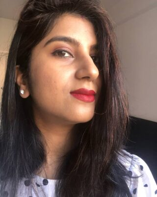 💋 There is a shade of red for EVERY woman 💋~ Audrey Hepburn 💕 True That! This @realhermakeup I AM TOUGH shade is perfect for medium to dark skin tones (like mine) ☺ I got this (my first ever) matte #liquidlipstick in my #birchbox this month! *happy me* 😍❤ Have you tried this lipstick? #anamikachattopadhyaya #everythingenchanting #makeupselfie #selfiefriday . . . My Simple Makeup Look Deets 💕 . 🌻On my face- NMF moisturizer MAC Matchmaster 4.0 SPF foundation (NC 40) 🌻On my eyes- Lakme liquid eyeliner (black) Eyeshadow from ABH Soft Glam palette Plum black Kajal Estee Lauder Black Mascara 🌻On my lips- NARS lip balm Bianca REAL Her Makeup lipstick, I am Tough